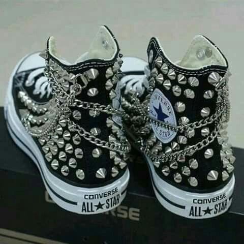 zapatos converse negros punky